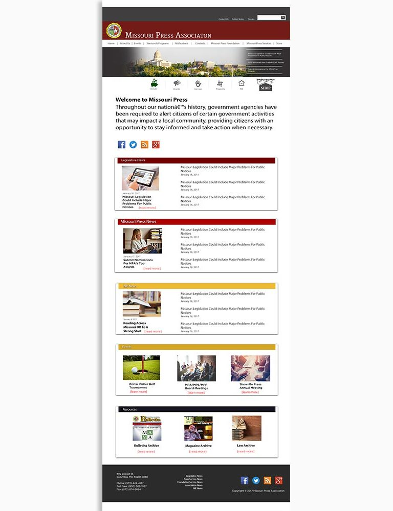 Missouri Press Association Website Design