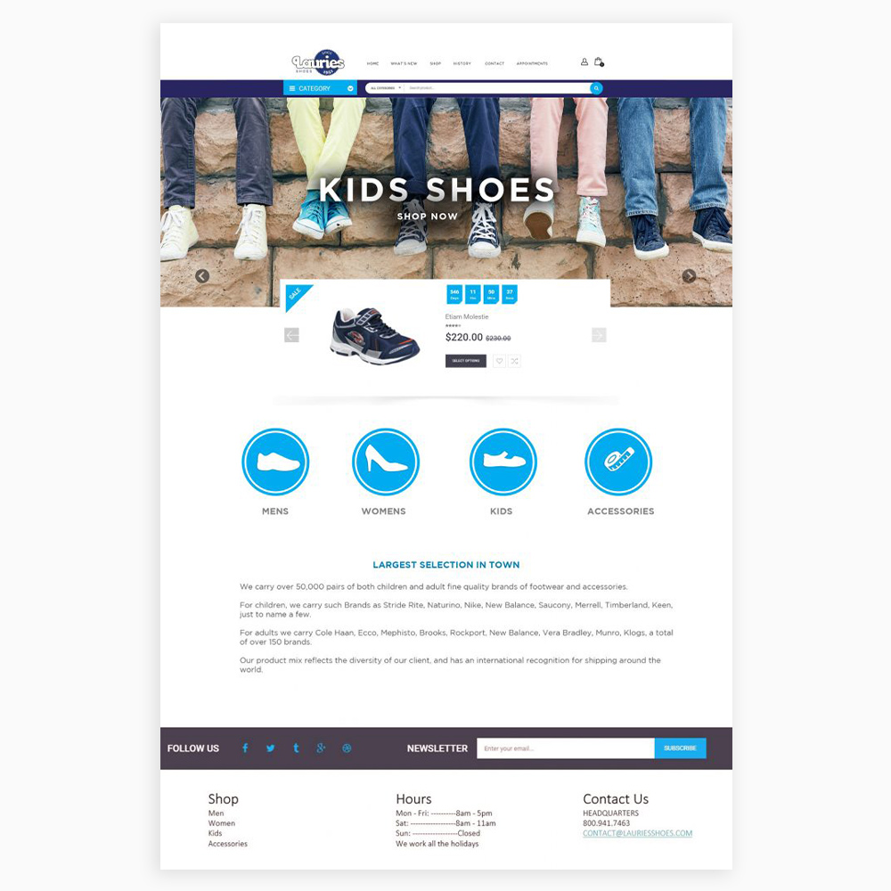 Lauries Shoes Web Design
