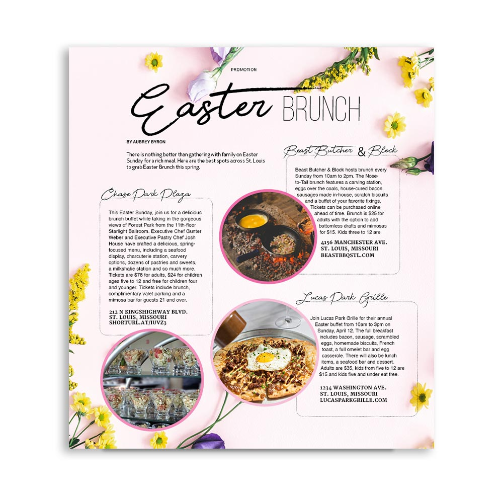 Easter Brunch Magazine Page