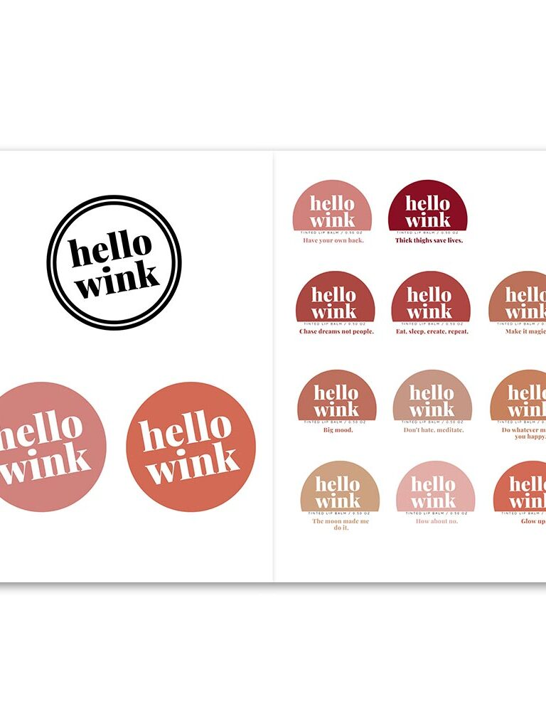 Hello Wink logo and product design